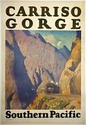 Original Vintage Poster Carriso Gorge Southern Pacific Railroad Travel Lines Ol