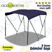 3 Bow Bimini Top Boat Cover Long Rear Poles Canopy Replacement Canvas Yacht Boat