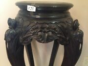 Antique Carved Chinese Plant Stand Asian End Table Tall Cat 21