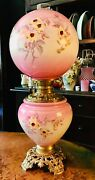 Antique Victorian Gone With The Wind Oil Lamp Gwtw Parlor Lamp