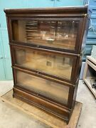 Antique Oak Globe Wernicke Barrister 3 Stack Sectional Bookcase