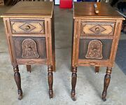 2 Antique Pair Bedside Bed Tables Wood Bell Nightstands Roller Feet Furniture