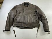 Vintage Langlitz Columbia Brown Leather Motorcycle Jacket Menand039s Thinsulate Cafe