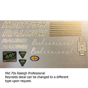 Raleigh Professional Mid 70s Decal Kit For Campagnolo