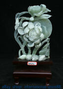 14 China 100 Natural Jade Hand Carving Feng Shui Butterfly Flower Fish Statue