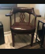 Ethan Allen Brown Leather Carved Back Arm Chair With Ottoman