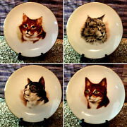 Four Mini Cat Plates With Stands, Decorative, 4.25 Diameter, Made In Japan
