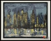 Vintage 60s Mid Century Modern Framed Oil Painting City Scape Dark Moody 17 X 21