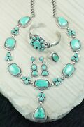Turquoise And Sterling Silver Necklace Set - Raymond Delgarito