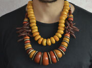 2 Moroccan Berber Tribal Amber Coral Necklace North African Jewelry Women Beads