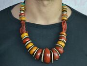 Moroccan Berber Tribal Amber Coral Necklace North African Jewelry Women Beads