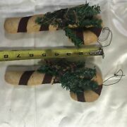 Lot Of 2 Primitive Stuffed Candy Cane Christmas Ornaments Handmade