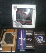 Nfl New England Patriots Fan Lot Scarf Gloves Power Bank Wallet Notepad Magnet