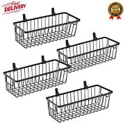Farmhouse Metal Wire Bin Basket With Wall Mount Small 4 Pack Portable Hanging...