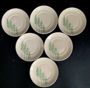 Salad Plates Leigh Ware Green Wheat 6.25andrdquo Vtg Art Deco Set 6 Leigh Potters