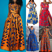 Women African Printed Maxi Long Dress Evening Party Cocktail Wedding Gown Dress