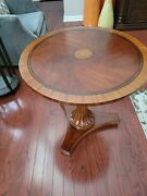 Ethan Allen Townhouse Carved Pedestal Table Round End Table Accent Table