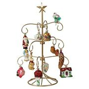 Merck Family's Old World Christmas Bride's Tree Ornaments And Metal Display Tree