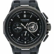 Concord C2 Automatic Chronogrph Menand039s Black Rubber Strap Swiss Made - 0320191