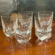 5 Baccarat Heavy Bottomed Crystal Whisky Tumblers / Glasses