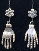 Vintage Style Mexican Sterling Silver Hand Charm Earrings