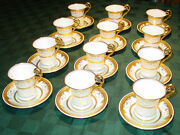 Antique Minton / And Co Gold Beaded Cups And Saucers - G9430 - Set Of 12