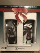 New Vtg 2000 Westinghouse Christmas Light Stained Glass Santa And Snowman Lamp Set