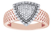 Diamond 14k Rose Gold Over Sterling Silver Triangle Ring