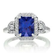 3ct Simulated Sapphire And Natural Diamond In 14k White Gold Over Silver 925 Ring