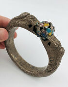 Antique Chinese Export Silver Hand Chased Repousse Enamel Dragon Bangle Bracelet