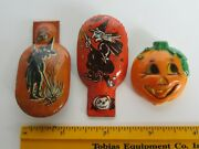 Vtg Halloween Tin Litho Witches Noise Clicker Toys And Hong Kong Pumpkin Brooch