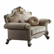 Acme Picardy Chair With Pillows In Fabric And Antique Pearl Finish 55462