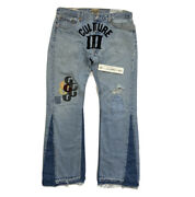 Gallery Dept Leviandrsquos Migos Culture Iii Flared Leather Patct Denim Jeans Size 34
