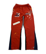 Gallery Dept X Migos Culture Iii Red Navy Denim Panel Flared Sweatpants Size L