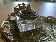 Vintage Brass Inkwellvmc Metal Crafters Solid Brass And Crystal Rococo Stand