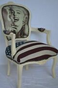 Louis Xv Arm Chair French Style Chair Vintage Furniture Usa Flag Marilyn