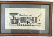 Amish The Auction Cross Stitch Quilts Completed Finished Matted Framed
