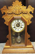 Antique Waterbury Kitchen Clock With Alarm 8-day, Time/bell Strike, Key-wind