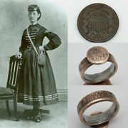 Unique 1864 United States Of America Two Cent Coin Ring - Civil War Reenactment