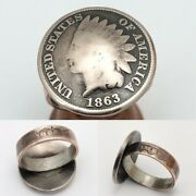 Unique 1863 And 1864 Indian Head One Cent Coin Ring -size 5.5 - Civil War Era