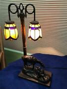 Bronze Fraser Western Sitting Cowboy W/horse Stained Glass Table Lamp - Nice