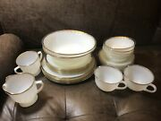 Vintage Oven Ware Fire King White And Gold Rim Swirl Milk Glass 27 Pcs.
