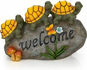 'welcome Sign' Turtles On Rock Solar Powered Led Outdoor Home Decor Garden Light