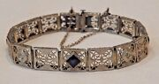 Antique 14k White Gold Filigree With Sapphires And Diamonds Bracelet