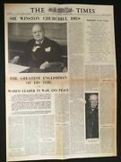 Death Of Legendary Winston Churchill Newspaper Front Page Headline Poster Wwii