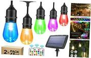 2-pack Each 48ft Rgb Solar String Lights Outdoor Dimmable Color Changing