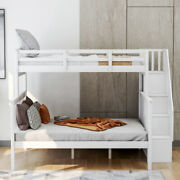 Gfd Home - Stairway Twin-over-full Bunk Bed With Storage And Guard Rail For B...