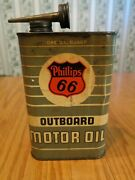 Vintage Phillips 66 Outboard Motor Oil Metal Quart Can With Top And Attached Spout