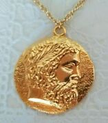 Zeus Father Of The Olympics Vintage Gold Medal And Chain Russia Moscow 1980 Rare