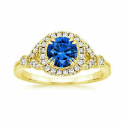 1.60 Ct Real Diamond Natural Blue Sapphire Ring 14k Solid Yellow Gold Size 8